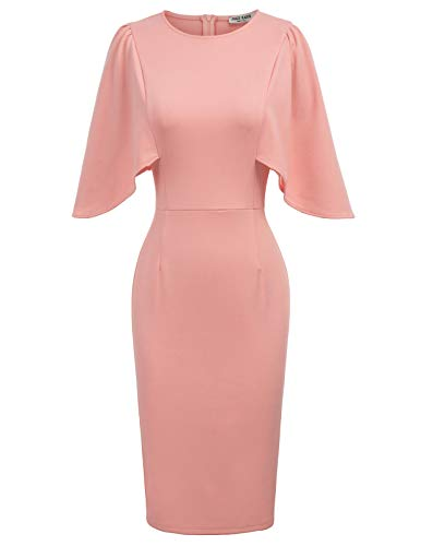 Women's 50s 60s Vintage Sexy Fitted Office Pencil Dress L Pink