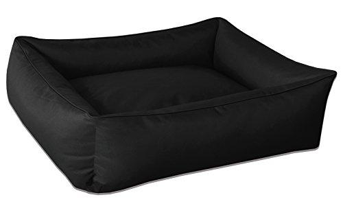 BedDog® Hundebett MAX, großes Hundekörbchen aus Cordura, waschbares Hundebett mit Rand, Hundesofa Vier-eckig, für drinnen, draußen, XL, Black, schwarz