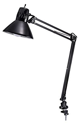 """Bostitch Office LED Swing Arm Desk Lamp with Clamp Mount, 36"""" Reach, Includes LED Bulb"""