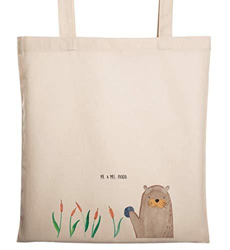 Mr. & Mrs. Panda Beutel, Tasche, Tragetasche Otter mit Stein - Farbe Transparent