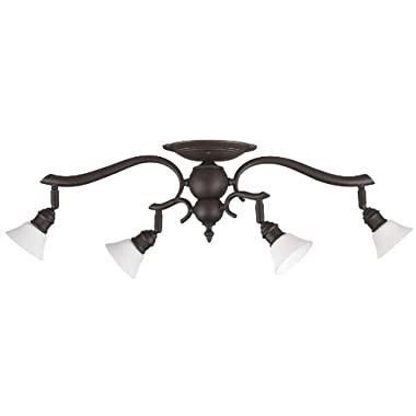 Canarm IT217A04ORB10 Addison 4-Light Dropped Track Lighting with Flat Opal Glass Shades, Oil Rubbed Bronze
