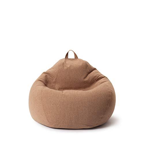 Lumaland Puff Pera Comfort Line con Taburete Disponible - Sillón Relax Puff Moldeable de Interior - Puff Infantiles con Relleno Incluido - 120 L 70x80x50 cm - Marrón
