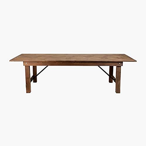 Folding Wood Dining Table - Rustic Dining Table - Brown