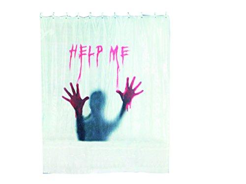 Out of the blue 31/4052 Kunststoff-Duschvorhang, Help Me im Polybeutel zum Aufhängen, circa 180 x 180 cm