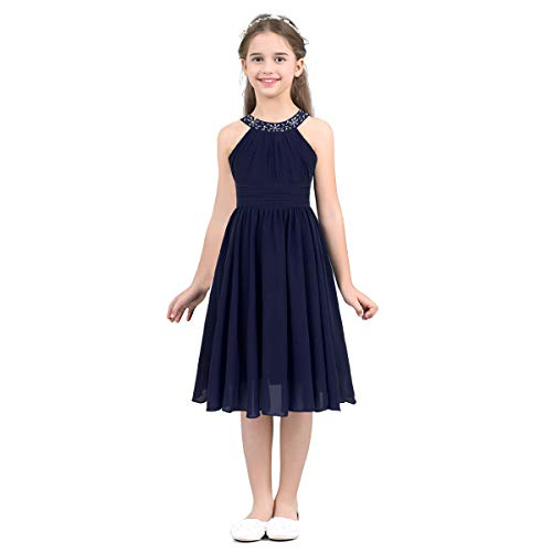iEFiEL Big Girls Kids Lace Flower High Low Chiffon Dress Wedding Bridesmaid Party Gown Navy Blue Sleeveless 12
