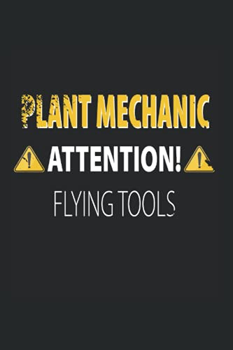 Plant Mechanic - Attention - Flying Tools: 6X9 Inch Notebook - plaid / checkered - Din A5 Booklet For Plant mechanic With 120 Pages| Planner | Notebook Gift