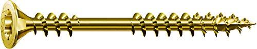 SPAX Verlegeschraube, 4,5 x 80 mm, 200 Stück, Senkkopf, T-STAR plus, 4CUT, Fixiergewinde, Verzinkt gelb passiviert A2L - 0541020450805