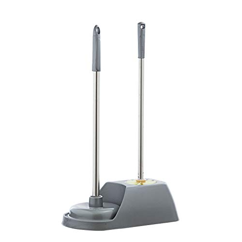 spazzolone WC La combinazione di stantuffo per servizi igienici a manico lungo e spazzole per la toilette ha una base stabile per la pulizia di lavandini, scarichi e servizi igienici (grigio / marrone
