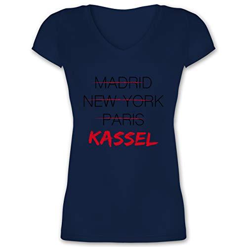 Städte - Weltstadt Kassel - 3XL - Dunkelblau - patriotisch - XO1525 - Damen T-Shirt mit V-Ausschnitt