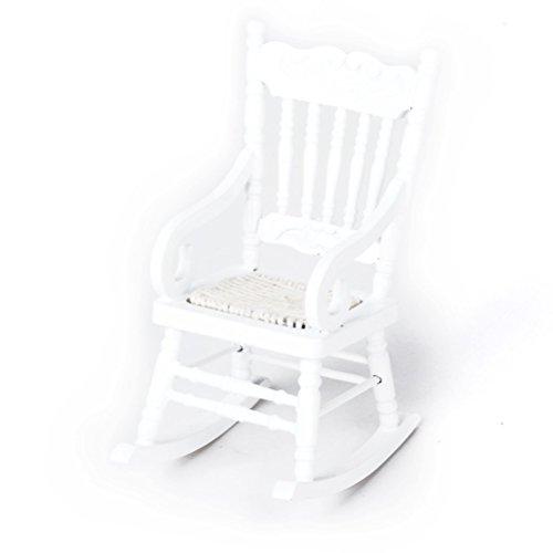PIXNOR Sedia a dondolo in legno modello mobili in miniatura per 112 Dollhouse (Bianco)