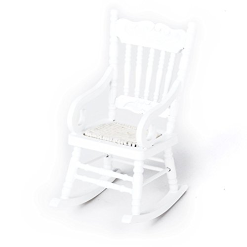 Tinksky Dollhouse Wooden Chair, 1:12 Dollhouse Miniature Wooden Rocking Chair Model (White)