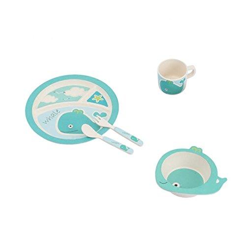 HJXJXJX Kinder-Gerichte Home Kategorien Nicht-toxische Wrestling Baby-Geschirr Set Whale Modeling Baby Bambus Faser getrennten Tisch