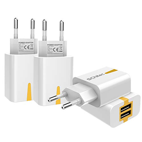 USB Ladegerät, 4er-Pack 2 Port USB Netzteil 5V / 2.1A Ladeadapter , USB-Portadapter Reise Wall Charger für iPhone X 8 Samsung Galaxy S9 S8 iPad Pro Huawei P20 P30 LG Tablet Kindle MP3(4Pack-Weiß)