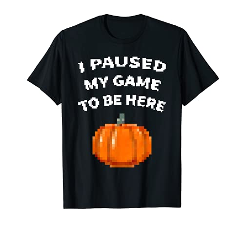 Paus mi juego para estar aqu Pixel Pumpkin Halloween Gamer Camiseta