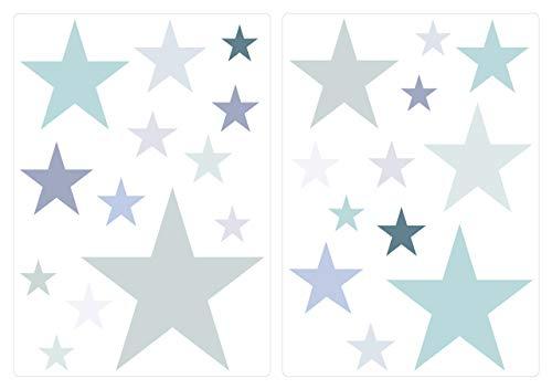 I-love-Wandtattoo Pegatina de Pared Pared de Dormitorio Infantil Conjunto de Pegatinas Pared Estrellas Pastel dominan en Gris y Verde
