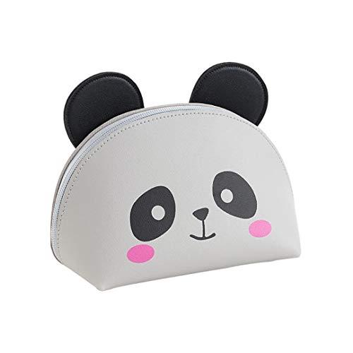 Sac en cuir multifonctions Maquillage Cute Cartoon Sac de toilette Organisateur cosmétique Pochette de rangement étanche Voyage cas pour les femmes adolescents filles (Panda) Art Maquillage