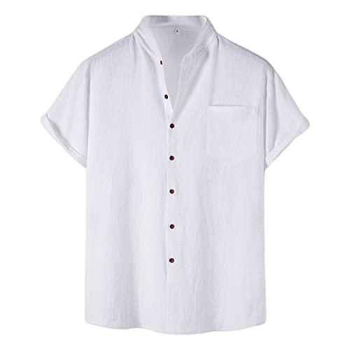 Camisa Hombre Verano Moda Color Sólido Hombre Casuales Camisa Botón Placket Manga Corta Tradicional Camisa Bolsillos Deportiva Camisa Cómodo Wicking Hombre T-Shirt A-White XXL