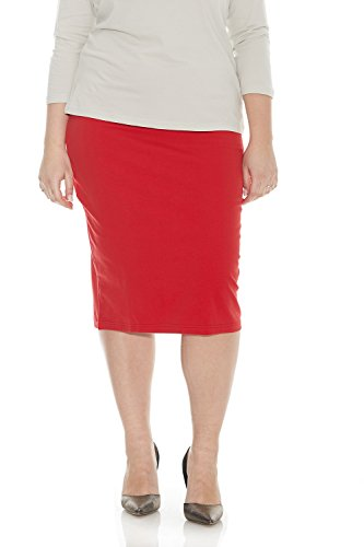 ESTEEZ Womens Plus Size Skirt Cotton Spandex Knee Length Dallas Raspberry 3X