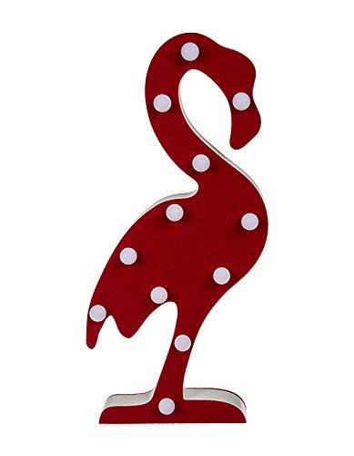 Deko Leuchte aus Holz Flamingo, mit 12 LED, Höhe ca. 42 cm, batteriebetrieben, im Geschenkkarton