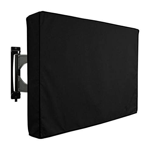"Zbm-zbm Outdoor TV Cover, Universal Weatherproof Black Protector for 40""- 65"" LCD, LED, Plasma TV - Compatible with Standard Brackets and Brackets. Storage Pocket with Built-in Remote Control"