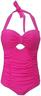 RANRANJJ One Piece Swimsuit Fashion Women's Bikini, Large Size Spa Beach Swimwear Push Up Bikini Beachwear (Color : Rose R...