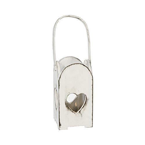 Windlicht Herz Weiß Laterne aus Holz Vintage Shabby Tisch Deko Hochzeit Hochzeitsdeko Gartendeko