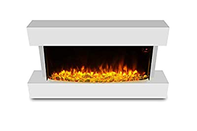 HomeZone® Modern White Wall Mounted Electric Fire Realistic LED Flame Effect with White Pebbles Or Log Burner. 220/240V 1000/2000W 7 Day 24hr Timer and Remote Control.