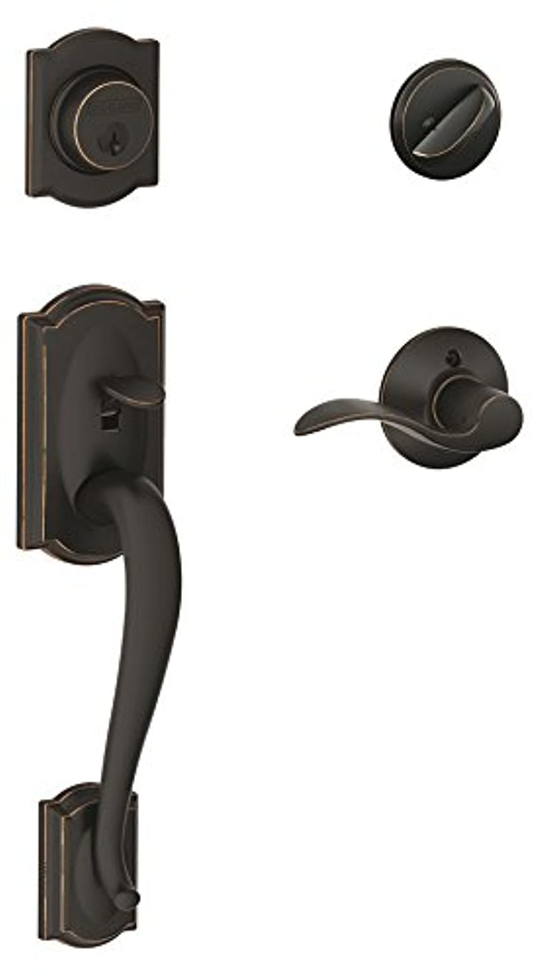 Schlage Camelot Single Cylinder Handleset and Accent Lever, Aged Bronze (F60 V CAM 716 ACC)
