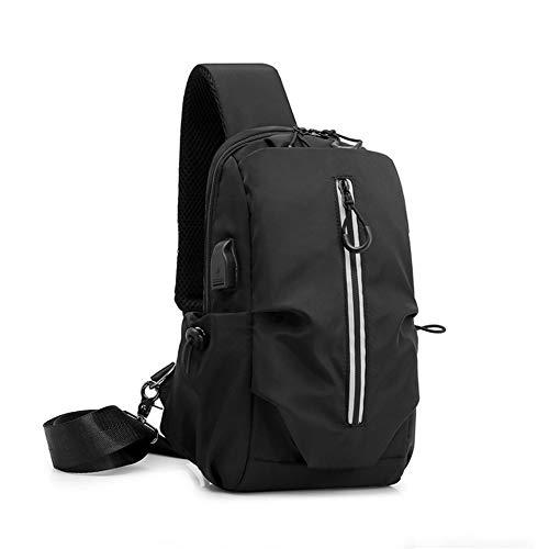 Sling Bag Shoulder Chest Bag Lightweight Cross Body Bags for Mensafety Reflective Strip Usb Charging Port Multifunctional Chest Bag,Black