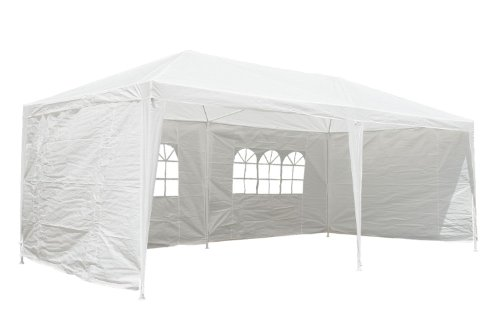 Party Tent Pavillon Tent 3 x 6 m, white - all side sections completely closable - CampFeuer