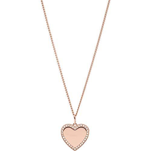 Fossil Fossil JF03362791 collar de mujer corazón acero inoxidable rosa circonita blanca 50 cm