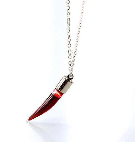 Blood Vial Necklace Gothic Jewellery Vampire Gift Glass Empty Vial Vampire Fang Screw Top