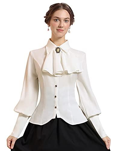 SCARLET DARKNESS Camisa victoriana para mujer, manga larga, cuello de solapa, corbata, medieval, beige, XXL