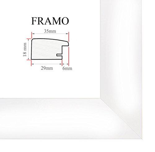 FRAMO 35 Bilderrahmen 30x40 cm, Farbe: Weiss Hochglanz, maßgefertigter MDF-Holz Rahmen mit Anti-Reflex Kunstglasscheibe, Rahmen Breite: 35mm, Außenmaß: 35,8 x 45,8 cm