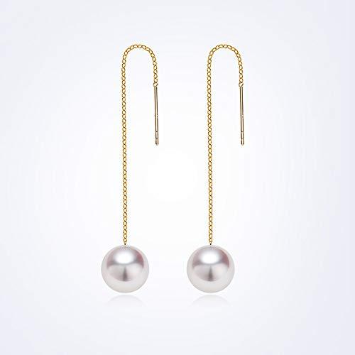 HANYF 18 Karat Gold Meerwasser Perle Ohrringe Ohrdraht, Weißes Licht/Runde Akoya/Schicken, Um Seine Freundin,Gold,8to8.5mm