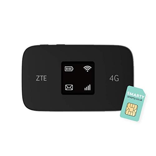 ZTE MF971R, LTE CAT6/4G, superschneller mobiler WLAN-Hotspot, entsperrtes Reise-WLAN, 300 Mbit/s, 2000 mAh Akku, Dualband, mit kostenloser Smart-SIM-Karte, Schwarz