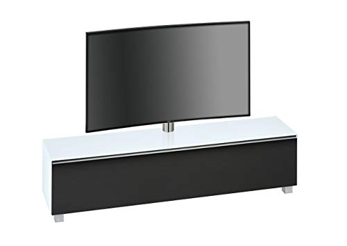 MAJA Möbel Soundboard, Glas, Weißglas Matt - Akustikstoff Schwarz, 180,20 x 42,00 x 121,00 cm