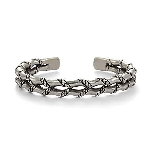 YJZW S925 Silber Bambus Armreif Antik Personalisierte Offene Manschette Armband Hochzeit Schmuck Geschenk Für Männer(Silber)