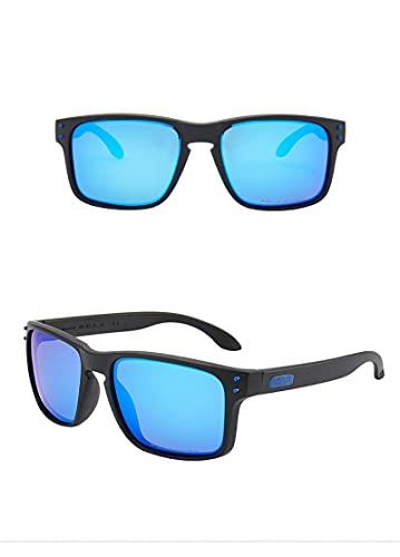 chengguo Gafas de Sol Deportivas polarizadas, Vintage, Gafas de Sol para Hombre y Mujer, Marca de Lujo de diseñador, Gafas de Sol de aviación, UV400 Oversize Negro-Azul