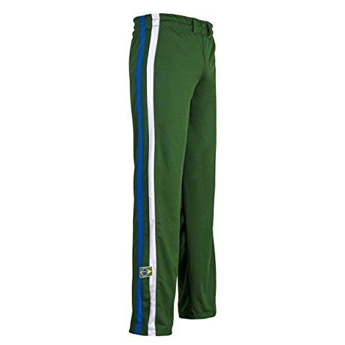 Verde Unisex Brasile Capoeira Arti Marziali Abada Elastico Pantaloni - Verde, Verde, Large