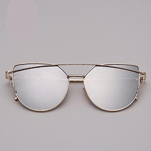 UKKD Gafas De Sol Diseño De Marca Cat Eye Gafas De Sol Mujeres Vintage Metal Reflective Gafas para Mujer Espejo-Gold Silver