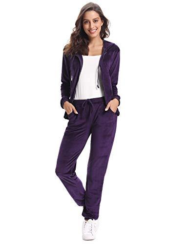 Abollria Damski strój domowy welurowy dres treningowy o aksamitnym wyglądzie, bluza z kapturem + spodnie ze ściągaczem i kieszeniami