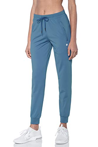 G Gradual Women's Joggers Pants with Zipper Pockets Tapered Running Sweatpants for Women Lounge, Jogging (Slate Blue, Large)