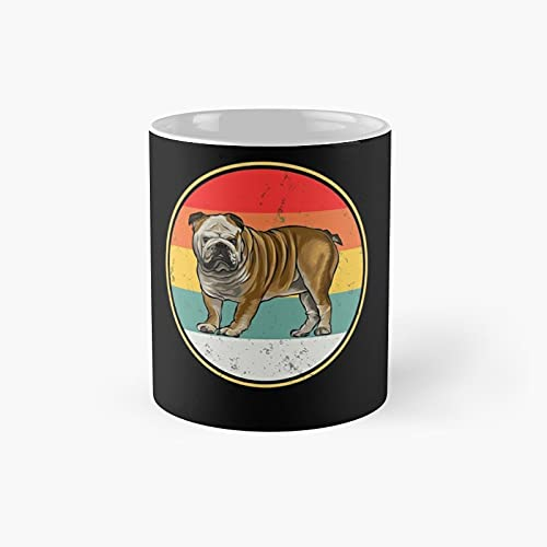 Vintage Retro Sunset Bulldog Dog Classic Mug - Ceramic Coffee White (11 Ounce) Tea Cup Gifts For Bestie, Mom And Dad, Lover, Lgbt