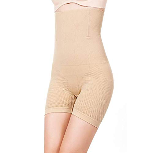 Scrolor Formende Bodys Shapewear Damen Party Body Bauchkontrolle Shorts Brillanz Hohe Taille(Beige,XXXL)