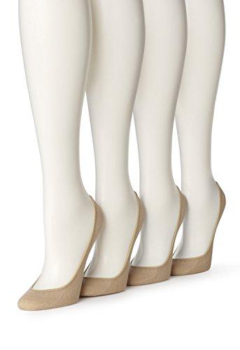 Hue Women's 4 Pair Hidden Cotton Liner, Cream, (M/L) Shoe Size 7-10