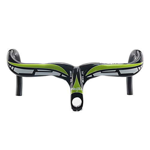 klwdas Bicycle Handlebar Carbon Fiber 400/420/440Mm Handlebars Road Bike Integrated with Stem 28.6Mm Handlebars Road Bike Blue 400X100