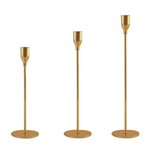 NINEFOX Candle Holder Set 3pcs Party Fit 3/4 Inch Restaurant mantic Bar Wedding Home Decor Retro Dinning Table Metal Candlestick European Style(Gold)