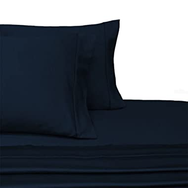 100-Percent Plush Cotton 800 TC Sheet Set by Pure Linens, Lavish Sateen Solid, 4 Piece Queen Size Deep Pocket Sheet Set, Navy