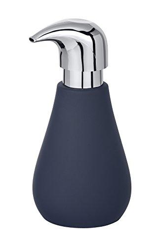 WENKO Seifenspender Sydney - Flüssigseifen-Spender mit Soft-Touch Beschichtung Fassungsvermögen: 0,32 l, Keramik, 8,5 x 17 x 9 cm, blau Matt